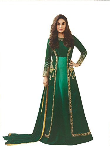Yashraj Export Women\'s Bollywood Designer Party-wear Latest Collection Green Art Silk Anarkali Suit