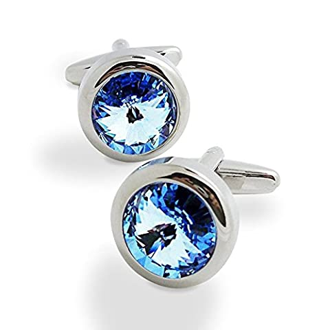 Covink® Swarovski Crystal Cufflinks Blue and White Crystal Cuff Links with Gift Bag