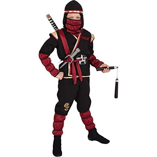 NET TOYS Ninja-Kämpfer Verkleidung für Jungen | Schwarz-Dunkelrot in Größe 152/164, 10 - 14 Jahre | Hochwertiges Kinder-Kostüm Samurai | Perfekt angezogen für Kinder-Karneval & Fasching (Ninja Kämpfer, Schwarze Kind Kostüm)