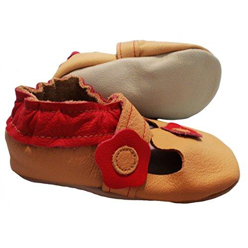 """""""Sandale Fleurie"""" de BBKDOM- Chaussons bébé et enfant en cuir souple de qualité supérieure Fabrication Européenne de 0-5 ans Beige"""