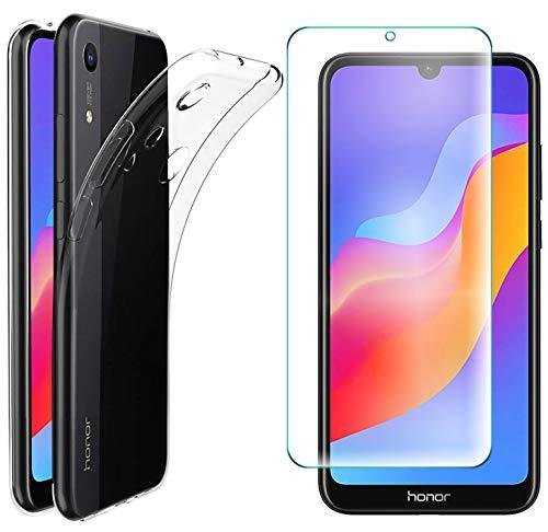 AOBOK [2 Stück, Hülle für Honor 8A, Panzerglas für Honor 8A, Transparent Weiche Silikon [ Ultradünnen ] Flexibel Bumper Handyhülle TPU Kratzfest Handy Schutzhülle