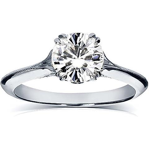 Moissanite Vintage e diamanti, 1 anello, 1/10 CTW in platino - Fedi In Platino Mens