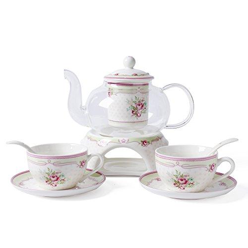 ufengke® Européen Pastoral Fleur Rose Porcelaine D'os Céramique Service À Thé 6 Pièces