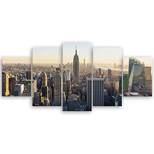 ge Bildet® hochwertiges Leinwandbild - New York City Skyline - 150 x 70 cm mehrteilig (5 teilig) 2283II L