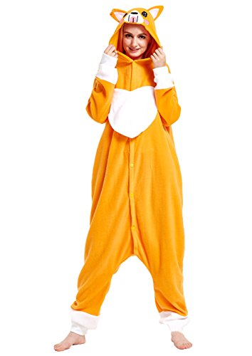 URVIP Erwachsene Unisex Jumpsuit Tier Cartoon Fasching Halloween Pyjama Kostüm Onesie Fleece-Overall Schlafanzug Orange Hund ()