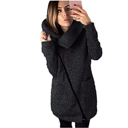 Amlaiworld mode Lang dick warm pulli Langarmshirts damen Rollkragen komfortabel locker Sweatshirt mit Tasche Reißverschluss pullover für Mädchen Winter Herbst Mäntel (M, Dunkelgrau)