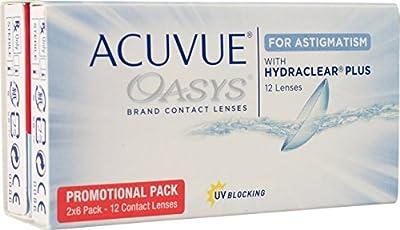 Acuvue Oasys for Astigmatism Lentes de Contacto Tóricas Quincenales, R 8.6, D 14.5, 1 Dioptrías, Cilindro -2.75, Eje 160 - 12 Lentillas