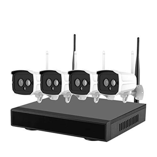 ZMDHL Drahtloses Überwachungskamerasystem, 4-Kanal-NVR-Überwachungssuite für drahtlose Netzwerke 1080P Plug-and-Play-Überwachungskamera mit Mehreren Bildschirmen