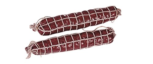 ERRO 2er Set Salami (rot) im Netz aus Kunststoff - 12373, Metzgerei Dekoattrappe, Lebensmittelnachbildung Wurst, Fake Food, künstliche Lebensmittel, Theater Requisite, Bühnendeko, (Kostüm Und Set Design Für Film Und Theater)
