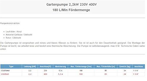Wasserpumpe 180 l/min 2,2 kW 400V Kreiselpumpe - 2