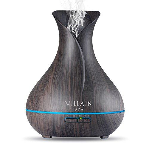 Villain SPA - Ultrasonic Aroma Essential Oil Diffuser - 400ml Wood Grain Cool Mist Humidifier with 7 Color Changing LED Lights, Mist Control, Auto OFF - 8-12 Hrs Mist Test