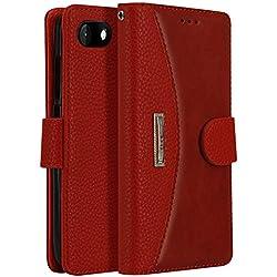 LOKAKA Coque Cuir, Housse pour Wiko Sunny 3, Etui avec Emplacement de Cartes, Magnétique Flip Portefeuille, Téléphone Portable Stand - Rouge