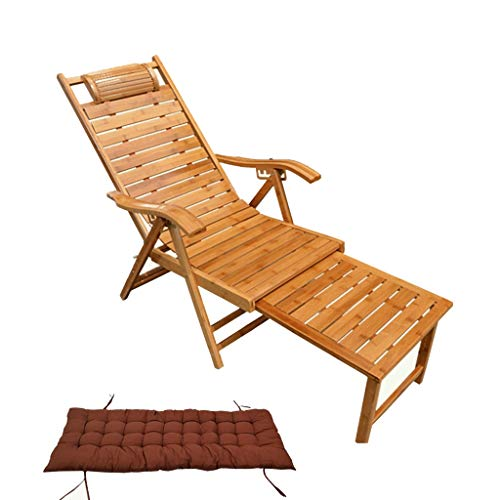 LIYONG Freizeitstuhl Bambus Schaukelstuhl Erwachsene Senioren Freizeitstuhl Massivholzstuhl Bambus Klappstuhl Home Lunch Break Lounge Chair Folding Liegestuhl