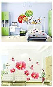 PINDIA Multicolour Mickey World Design & Beautiful Flower Design Design Wall Sticker - Buy 1 GET 1