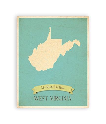 Kinderzimmer Decor, meine Wurzeln West Virginia Personalisierte Wand Karte, 11x 14, Kid West Virginia Karte Wand Kunst, Kinder West Virginia Vintage State Map, WV Art Wand dekotarion