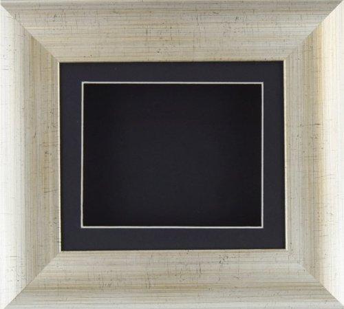 BabyRice Deep box display Frame per oggetti in 2D e 3D medaglia Keepsake Baby Casts 1st stivaletti effetto argento antico fiori/passepartout nero/nero gommato
