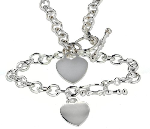 Tuscany Silver Sterling Silver Set of Oval Heart T-Bar Chain and Bracelet of 46cm/18""