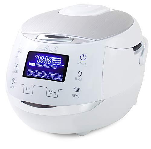 Yum Asia Sakura Reiskocher mit Keramikschale und Micom Fuzzy Logic (YUM-EN15W) 6 Reiskochfunktionen, 6 Multischooker-Funktionen, Motouch LED-Display (1,5 litre) 220-240V UK/EU Power (Weiß und Silber)