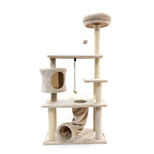 CUPETS Katze Baum Kletterbaum für Katzen Kätzchen Aktivität Tower-Apartment Multi Level Pet Play House mit Kratzbaum und Slide Aktivität Baum Pet Products für Katzen 139,7cm Hohe -
