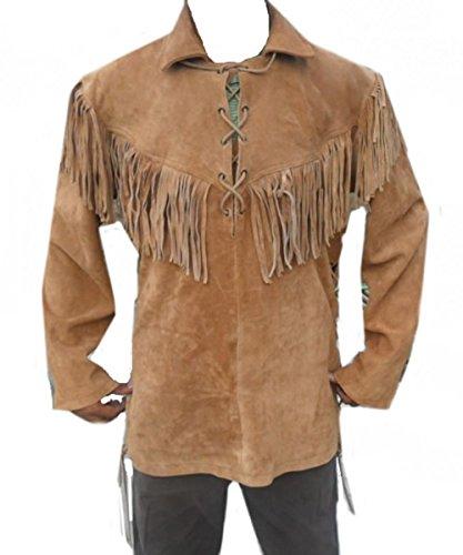 Celebrita X Leather Western Coat Fringes in Front Back & Shoulders Suede Khaki