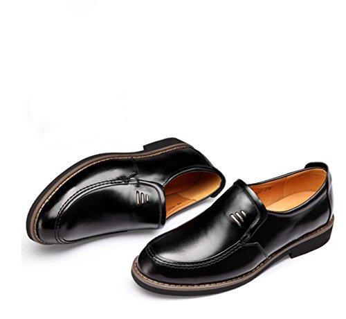 GRRONG Chaussures En Cuir Pour Hommes D'affaires Loisirs Mode Noir Black