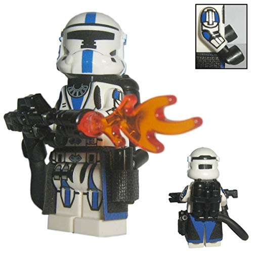 (Custom Brick Design 501st Legion Heavy Commando Flame Thrower Clone Trooper - Figur gefertigt aus Lego Star Wars & Custom Teilen)