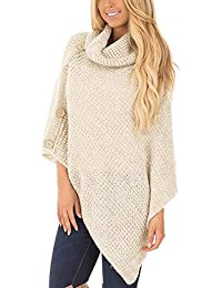 a26bd37426f211 FNKDOR Womens Turtle Neck Poncho with Button Irregular Hem Knit Sweater  Pullover Coat Outwear