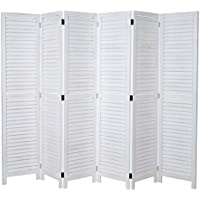 3 fach Paravent Raumteiler Holz Trennwand grau weiß washed Schilf Shabby 170 cm