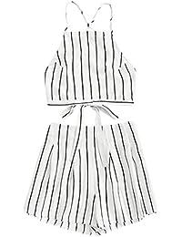 fcaae26868e TUDUZ Shorts und Top Sets Damen Sommer Strand Zweiteiler Schulterfrei  Sunflower Printed Beachwear Chiffon Boho Ärmellos Crop…