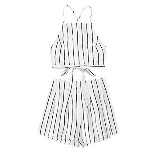 TUDUZ Shorts und Top Sets Damen Sommer Strand Zweiteiler Schulterfrei Sunflower Printed Beachwear Chiffon Boho Ärmellos Crop Tops (Weiß, S)
