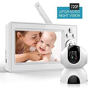 """Bable Baby Monitor Video da 5"""" HD Schermo a Colori, Ampio Visione a 360°, Audio Bidirezionale, Visione Notturna,Ninna Nanna,Temperatura Monitoring, 1280 * 720 pixel"""