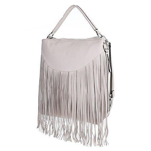 Damen Tasche, Große Handtasche Mit Fransen, Kunstleder, TA-9335-19 Beige Grau
