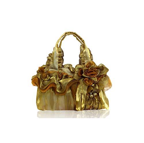 Strawberryran Embroidery Bag Handgemachte Stadtstreicherin Silk Spitze-Prinzessin Hochzeit Blumenhandtaschen-Abend-Beutel Hochzeits-Beutel, Bronze -