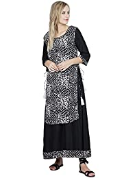 Patrorna Double Layer A Line Black Long Kurti With Gown For Women And Girls