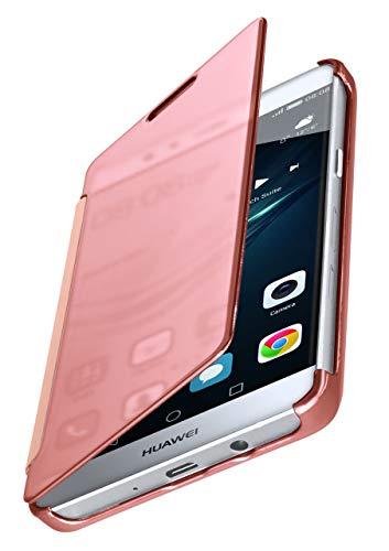 MoEx® Dünne 360° Handyhülle passend für Huawei P9 Lite | Transparent bei eingeschaltetem Display - in Hochglanz Klavierlack Optik, Rose-Gold