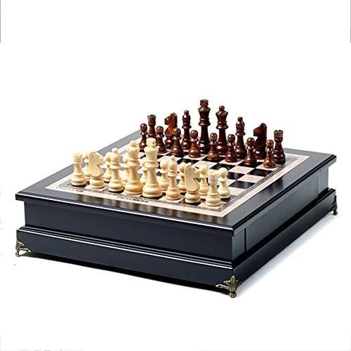 16-Zoll-Fenster-Schach aus hochwertigem Massivholz, hochwertiges Massivholz, geeignet für Schachspiele für Erwachsene - aus Holz - Nicht magnetisch - schwarzer Backgammon