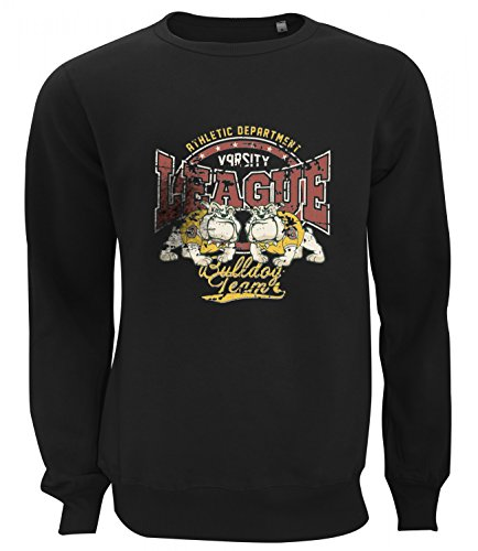 Three Monkeys Bulldog Football Team Animals Collection Women's Unisex Sweatshirt Nero (Bulldogs Fleece Felpa)