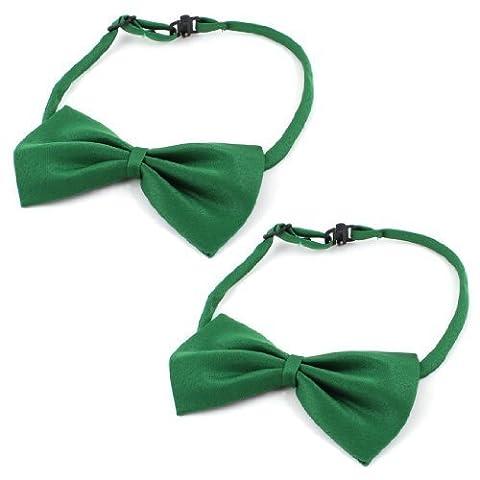 Water & Wood Dog Cat Pet Collar Accessory Bow Tie Necktie Green 2 Pieces