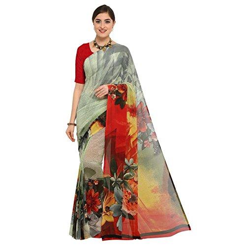 sarvagny clothing Women's Georgette Saree (D-Print 1012_Multicolor)