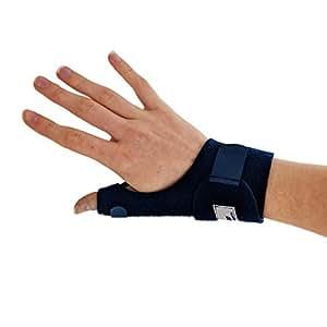 Orthèse de pouce médicale bleue Actesso. Attelle de pouce pour douleurs, tendinite, entorses et foulures (Droite)