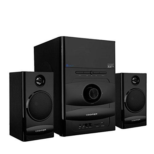2.1 Bluetooth Lautsprecher Set Subwoofer Stereo Audio Unterstützung SD / USB Karte Radio und Karaoke Sound System für PC Laptop Tablet TV MP3 Player Schwarz (WP303-de) Subwoofer-turm
