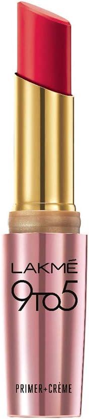 Lakme 9To5 Primer + Crème Lip Color, Red Rage CR3, 3.6 g