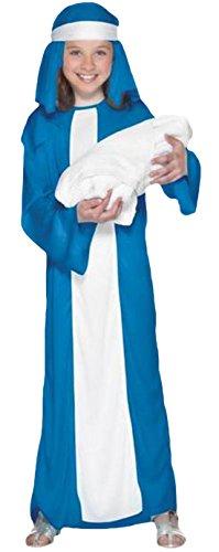 Und Maria Jesus Kostüm - Halloweenia - Mädchen Kostüm Maria Jesus Karneval Weihnachten, Blau Weiss, Größe 122-134, 7-9 Jahre