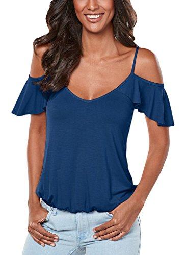 Annflat Damen Bluse Gr. Medium, blau (Ruffle Lace Tee)