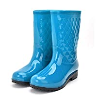 Rain Welliec Boots For Women,Fashion Creative Waterproof Non-Slip Mid-Tube Blue Mirror Rain Shoes For Lady Outdoor Travel Grassland Music Festival Clothes Wild