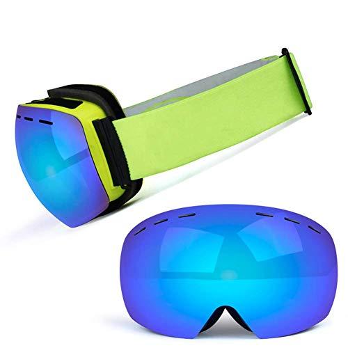 JXS-Goggles Skibrille, Doppelschichtlinse, Anti-Fog, Anti-UV, Schneesicher, Objektiv austauschbar, kann mit Myopie-Brillen verwendet Werden,E