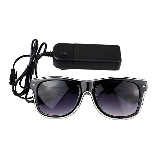 Leuchten Luminous Brille Erstaunliche Kühle Brillen Glow Eye Fashion Eyewear Maske für Club Bar Disco DJ, Raves Verrückt, Christmas Nachtparty, Kostüme (Weiß Licht) (Gruppe Kostüme Für 8)
