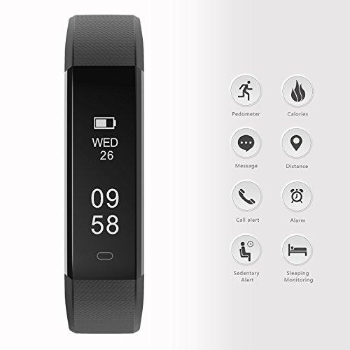 moreFit Slim 2 Fitness Tracker Bluetooth Smart Armband Uhr Touchscreen Schrittzähler Armband mit Schnalle für iphone 8/7/7 Plus / 6 / Samsung S8 / Galaxy / IOS / Android, Schwarz - 2