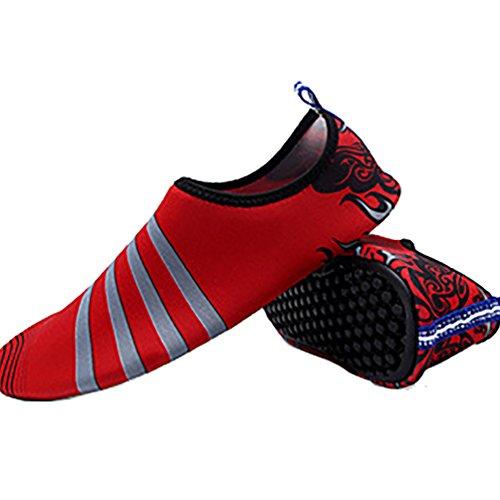 LvRao Damen Und Herren Aquaschuhe Sommer Strand Wasserschuhe Strandschuhe Elastischen Fluss Schuhe Rot
