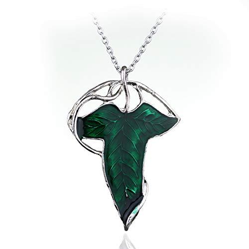 DADATU Halsketten für Herren Film Schmuck Lord of The Elven Leaf Arwen Evenstar Alloy Pendant Elves Aragorn Green Leaves Gift for Man and - Lady Arwen Kostüm